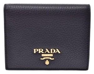 Prada Prada Compact Two Fold Wallet Black / Red 1MV204 Ladies' Men's Calf Good Condition PRADA Box Gala