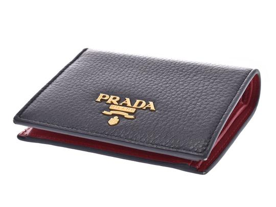 Prada Prada Compact Two Fold Wallet Black / Red 1MV204 Ladies' Men's Calf Good Condition PRADA Box Gala Image 2