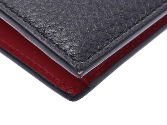 Prada Prada Compact Two Fold Wallet Black / Red 1MV204 Ladies' Men's Calf Good Condition PRADA Box Gala Image 3