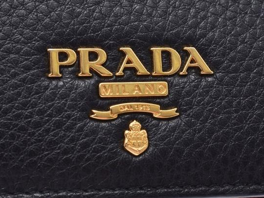 Prada Prada Compact Two Fold Wallet Black / Red 1MV204 Ladies' Men's Calf Good Condition PRADA Box Gala Image 5