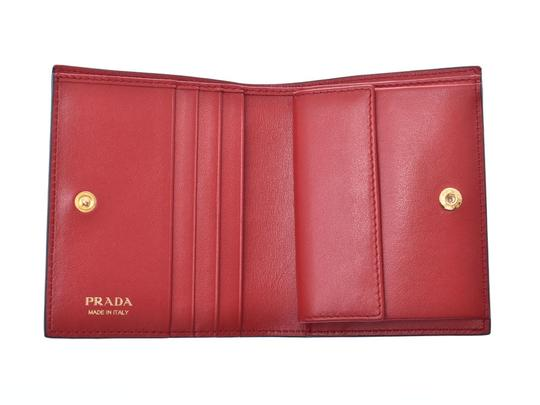 Prada Prada Compact Two Fold Wallet Black / Red 1MV204 Ladies' Men's Calf Good Condition PRADA Box Gala Image 6
