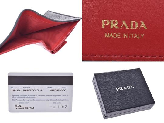 Prada Prada Compact Two Fold Wallet Black / Red 1MV204 Ladies' Men's Calf Good Condition PRADA Box Gala Image 8