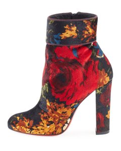 Christian Louboutin Moulamax Floral Stiletto Pigalle Black Boots
