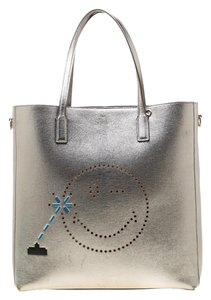 Anya Hindmarch Leather Canvas Suede Tote in Grey