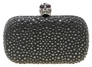 Alexander McQueen Leather Crystal Embellished Grey Clutch