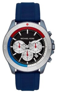 Michael Kors NWT Theroux Chronograph Navy Stainless Steel Watch MK8708
