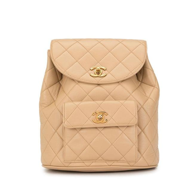 Item - Vintage Quilted Lambskin Duma Cc Logo Beige Leather Backpack