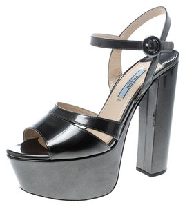 Prada Patent Leather Ankle Strap Leather Green Sandals