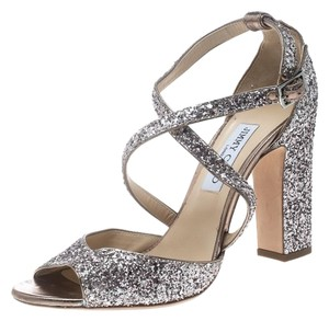 Jimmy Choo Leather Coarse Glitter Metallic Sandals