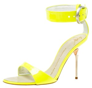 Giuseppe Zanotti Patent Leather Open Toe Leather Green Sandals