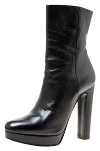 Prada Leather Platform Ankle Black Boots