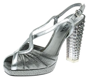 Prada Leather Crystal Embellished Silver Sandals