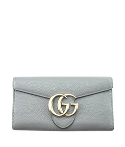 Gucci Gucci 400586 Marmont Continental Grey Leather Snap Wallet (177107)