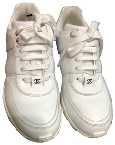 Chanel 38 Leather Sneakers White Black Athletic
