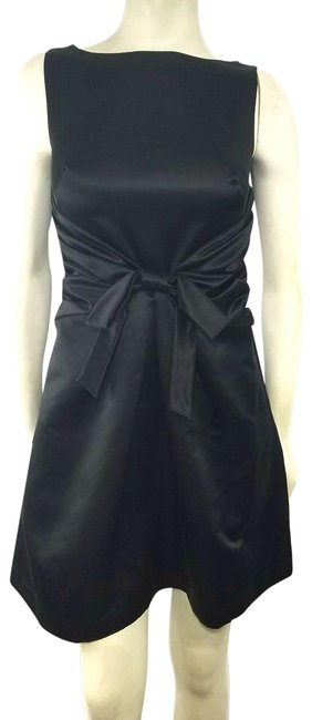 Item - Black Pleated Waist Bow Accent Waist Evening Party Short Formal Dress Size 2 (XS)