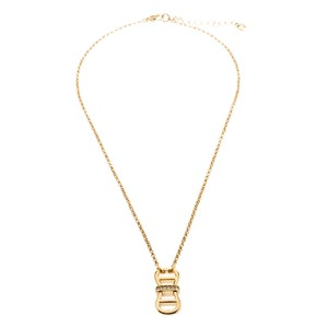 Etienne Aigner Aigner Gold Plated Crystal Dual Monogram Pendant Necklace