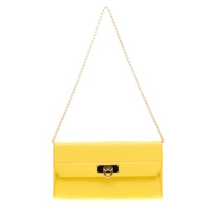 Salvatore Ferragamo Yellow Leather Wallet on Chain