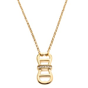 Etienne Aigner Aigner Gold Plated Crystal Embellished Double Horseshoe Necklace
