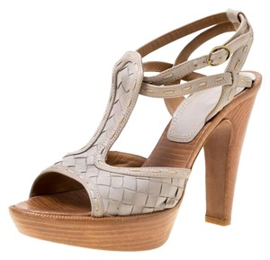 Bottega Veneta Leather Ankle Platform Grey Sandals