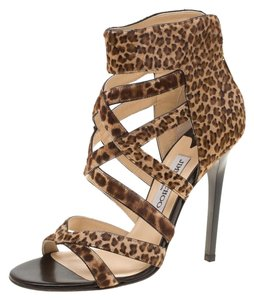 Jimmy Choo Leopard Leather Brown Sandals