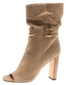Jimmy Choo Suede Leather Peep Toe Ankle Beige Boots