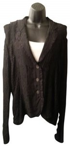 Chico's Textured Lace Ruffle Trimmed Blouse Button Down Shirt Black