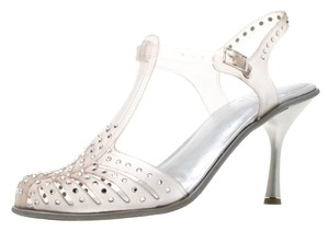 Stuart Weitzman Crystal Embellished Rubber Grey Sandals