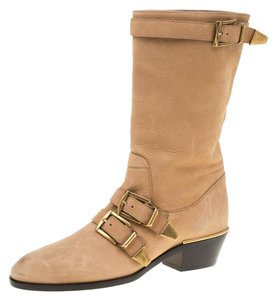 Chloé Leather Detail Beige Boots