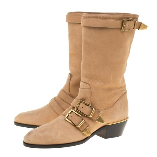Chloé Leather Detail Beige Boots Image 4