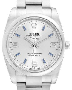 Rolex Rolex Air King Silver Dial Blue Index Hour Markers Steel Watch 114200