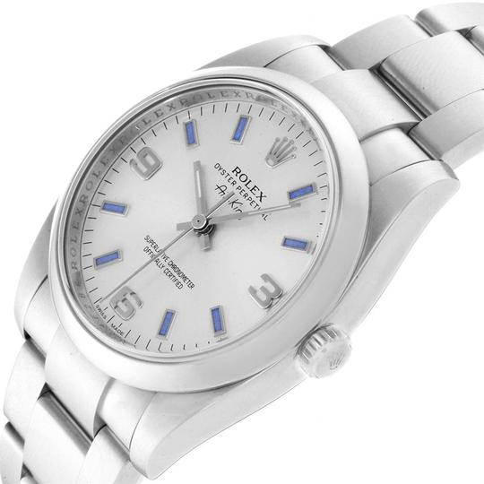 Rolex Rolex Air King Silver Dial Blue Index Hour Markers Steel Watch 114200 Image 4