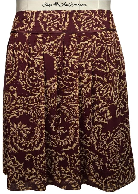 Item - Burgundy/Maroon Cream/Tan Silk Print Skirt Size 16 (XL, Plus 0x)