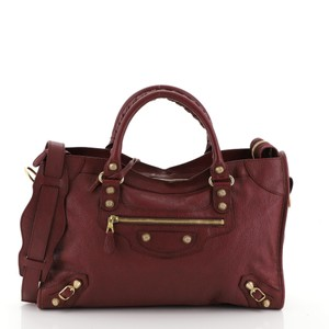 Balenciaga City Leather Satchel in red