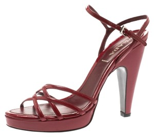 Prada Patent Leather Ankle Platform Burgundy Sandals