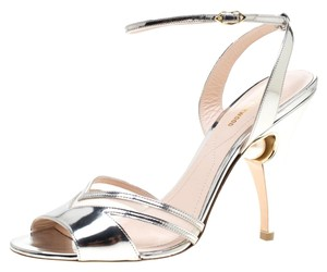 Nicholas Kirkwood Leather Pearl Embellished Ankle Strap Silver Sandals