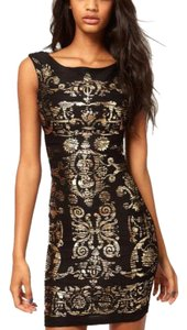 Lipsy Bodycon Stretch Bandage Foil Gold Dress