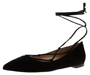 Gianvito Rossi Suede Ankle Pointed Toe Black Flats