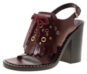 Burberry Leather Detail Burgundy Sandals