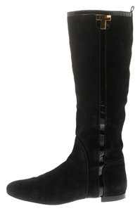 Tory Burch Patent Leather Suede Black Boots