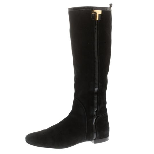 Tory Burch Patent Leather Suede Black Boots Image 1