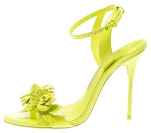 Sophia Webster Leather Floral Embellished Ankle Green Sandals