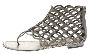 Sergio Rossi Leather Cut-out Grey Flats