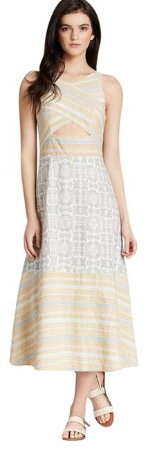 Item - Ivory/Yellow/Gray Tribal Tale Cutout Print Midi Mid-length Casual Maxi Dress Size 0 (XS)