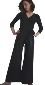 other BLACK JERSEY ONE PIECE WIDE LEG JUMPSUIT with MATCHING SASH FRINGED BELT