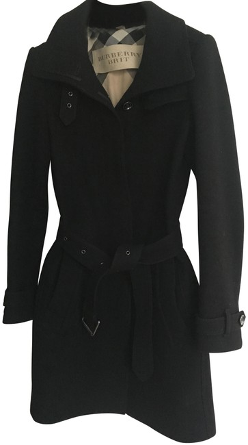 Item - Black Brit Rushworth Belted Single Breasted Funnel Neck Wool Coat Size 2 (XS)