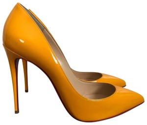 Christian Louboutin Pointed Toe Pigalle Patent Leather Yellow Pumps