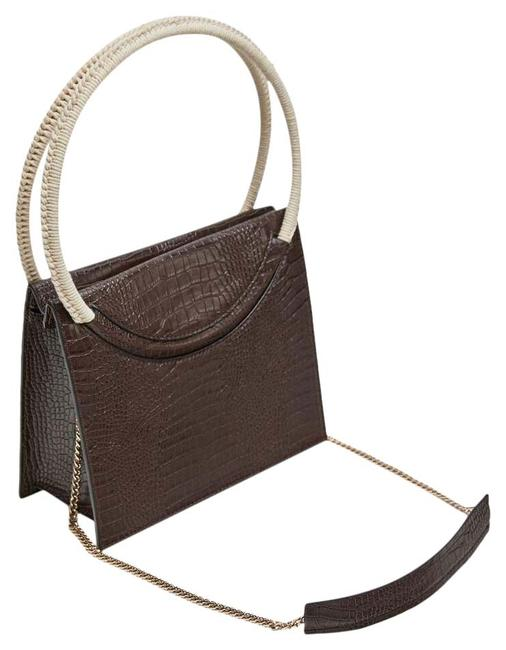 Item - Embossed Faux Leather City Brown Polyurethane Satchel