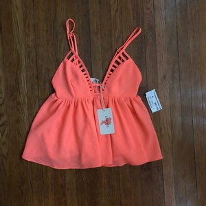 Necessary Clothing Nyc Summer Pink Color Pink Bright Colored Bright Colored Shirt Top Coral, Neon, Peach