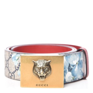 Gucci Gucci Womens Blooms GG Canvas Leather Tiger Head Buckle Belt 80/32 546
