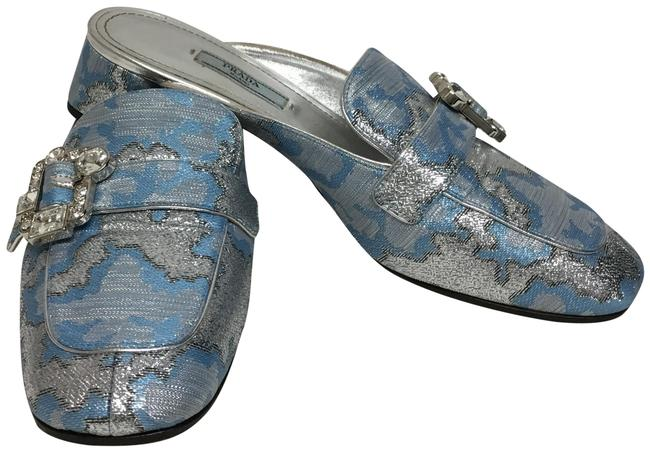 Item - Blue And Silver Brocade with Crystal Buckle Mules/Slides Size EU 38.5 (Approx. US 8.5) Regular (M, B)